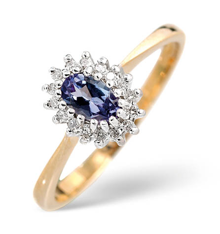 Diamond and Tanzanite Ring 0.05ct 18k Gold