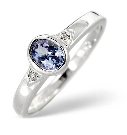 Diamond and Tanzanite Ring 0.34ct 9k White Gold