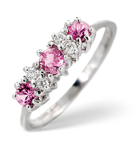 Diamond And Pink Sapphire Trilogy Ring 0 06ct Gemstone