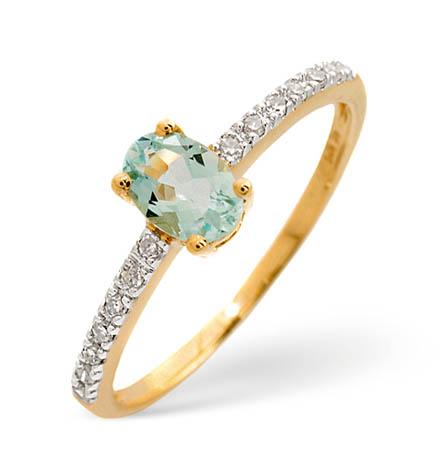 Diamond and Aquamarine Ring 0.35ct