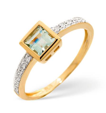 Diamond and Aquamarine Ring 0.06ct 9k Gold