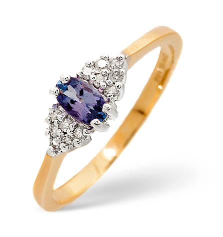 Diamond and Tanzanite Ring 0.09ct 9k Gold