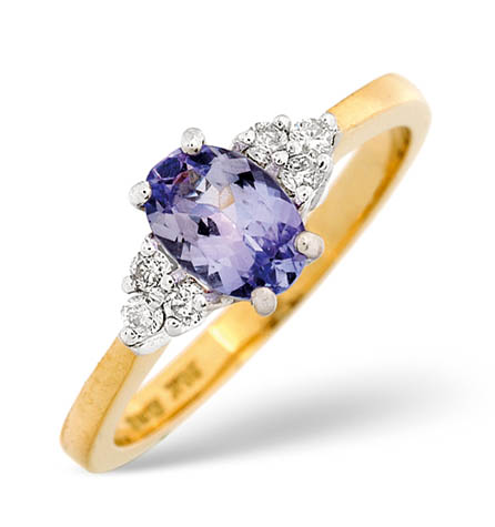 Diamond and Tanzanite Ring 0.12ct 18k Gold