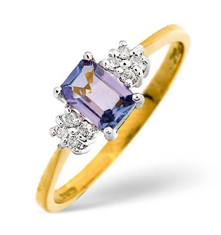 Diamond and Tanzanite Ring 0.06ct 18k Gold