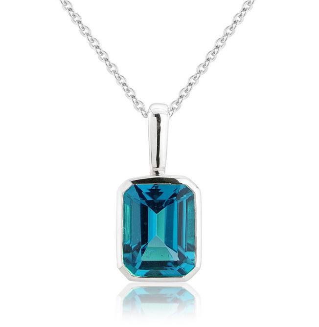 London Blue Topaz Pendant Necklace 9k White Gold Other