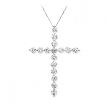 Diamond Cross Necklace 0.75ct, 18k White Gold