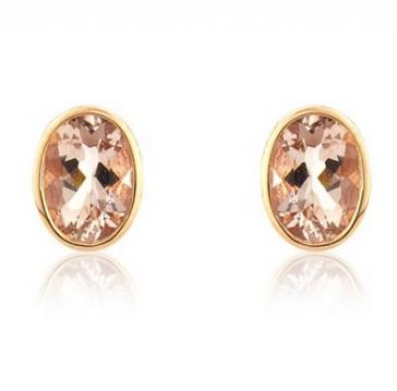 Morganite Oval Stud Earrings, 9k Rose Gold