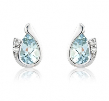 Diamond and Aquamarine Pear Cut Earrings, 9k White Gold