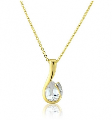 Diamond and White Topaz Drop Pendant Necklace, 9k Gold