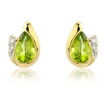 Diamond and Peridot Pear Cut Earrings, 9k Gold