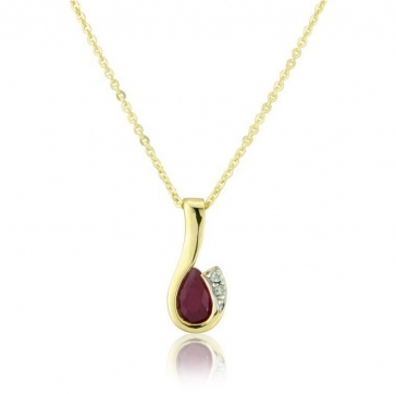 Diamond and Ruby Drop Pendant Necklace, 9k Gold