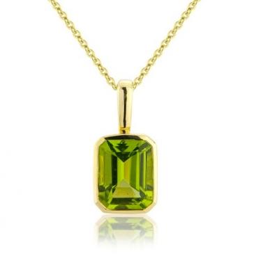 Peridot Drop Pendant Necklace, 9k Gold