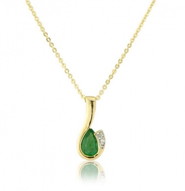 Diamond and Emerald Drop Pendant Necklace, 9k Gold