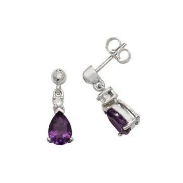 Amethyst & Diamond Pear Drop Earrings, 9k White Gold