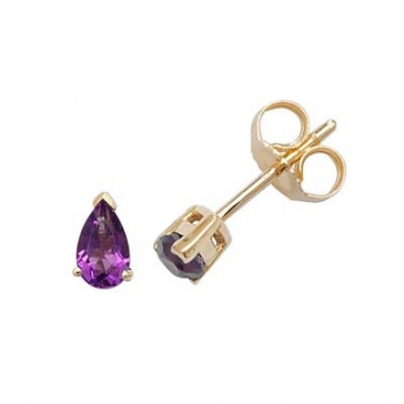 Amethyst Pear Stud Earrings Claw Set, 9k Gold
