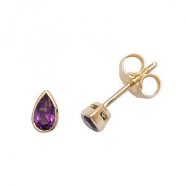 Amethyst Pear Stud Earrings Rub-Over, 9k Gold