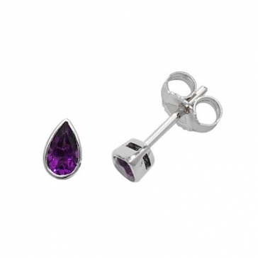 Amethyst Pear Stud Earrings Rub-Over, 9k White Gold