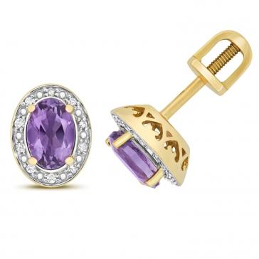Amethyst & Diamond Oval Halo Stud Earrings