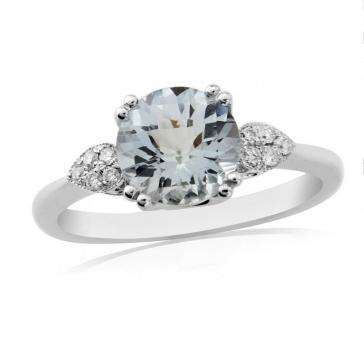 Aquamarine & Diamond Ring 1.26ct, 9k White Gold
