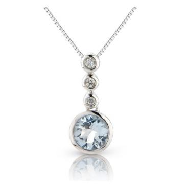 Aquamarine & Diamond Drop Pendant, 9k White Gold
