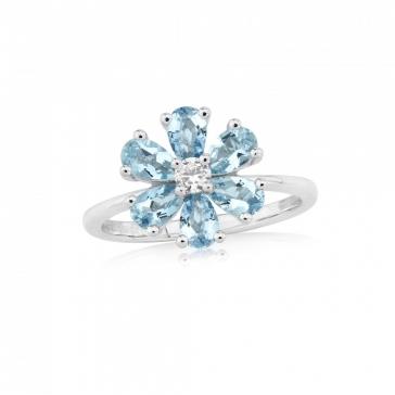 Aquamarine & Diamond Flower Ring in White Gold