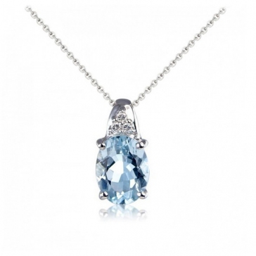 Aquamarine & Diamond Oval Pendant Necklace, 9k White Gold