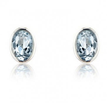 Aquamarine Oval Stud Earrings, 9k White Gold