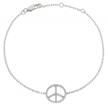 Diamond Peace Pendant Bracelet 0.18ct, 18k White Gold