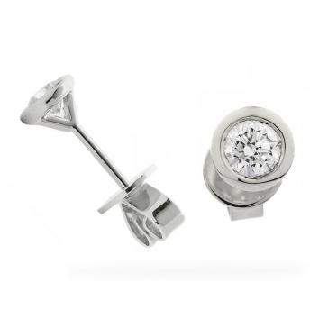 Diamond Stud Earrings Bezel Set 0.20ct, 18k White Gold