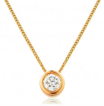 Diamond Rubover Pendant Necklace 0.20ct, 18k Rose Gold