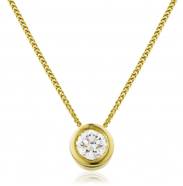 Diamond Rubover Pendant Necklace 0.20ct, 18k Gold