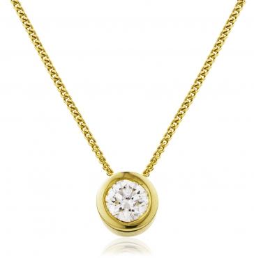 Diamond Rubover Pendant Necklace 0.25ct, 18k Gold
