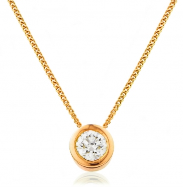 Diamond Rubover Pendant Necklace 0.40ct, 18k Rose Gold, G/SI1