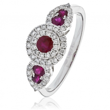 Ruby & Diamond Double Halo Dress Ring 0.90ct, 18k White Gold