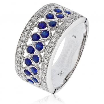Sapphire & Diamond Half Eternity Ring 1.20ct. 18k White Gold