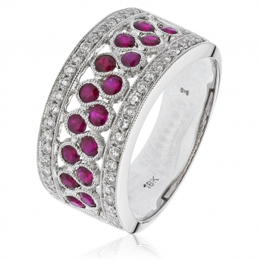 Ruby & Diamond Half Eternity Ring 1.10ct. 18k White Gold