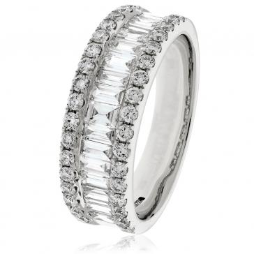Diamond Baguette Half Eternity Ring 1.50ct, 18k White Gold