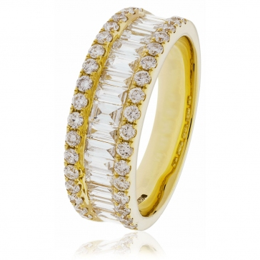 Diamond Baguette Half Eternity Ring 1.50ct, 18k Gold