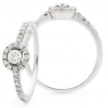 Diamond Halo Engagement Ring 0.40ct, 18k White Gold