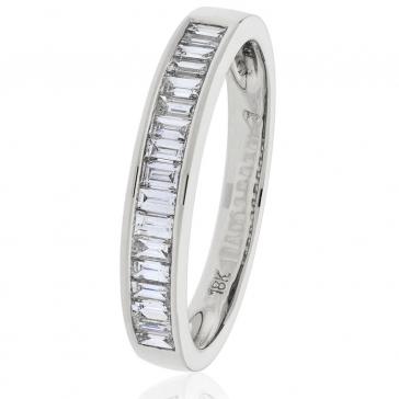 Diamond Baguette Half Eternity Ring 0.50ct, 18k White Gold