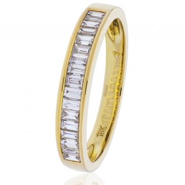 Diamond Baguette Half Eternity Ring 0.50ct, 18k Gold