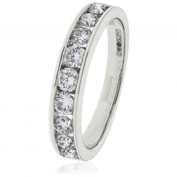 Diamond Half Eternity Ring 0.80ct, 18k White Gold