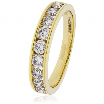 Diamond Channel Set Half Eternity Ring 1.00ct, 18k Gold