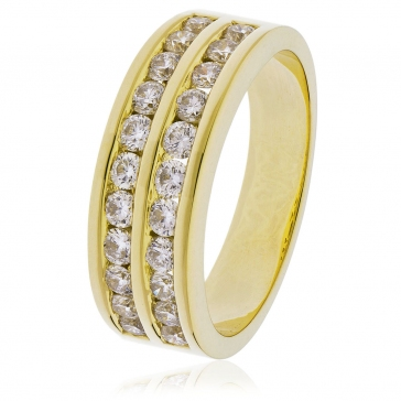 Diamond Half Eternity Ring 0.75ct, 18k Gold