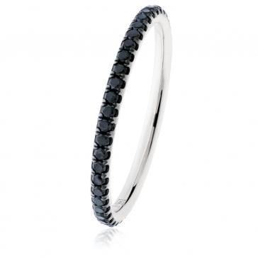Black Diamond Half Eternity Ring 18k White Gold, 2mm