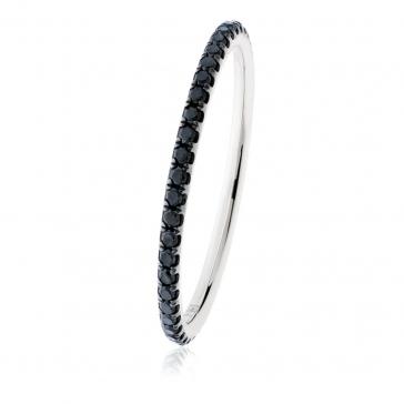 Petite Black Diamond Full Eternity Ring 0.35ct, 18k White Gold