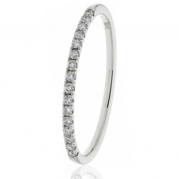 Diamond Half Eternity Ring 0.15ct. 18k White Gold, 1.7mm