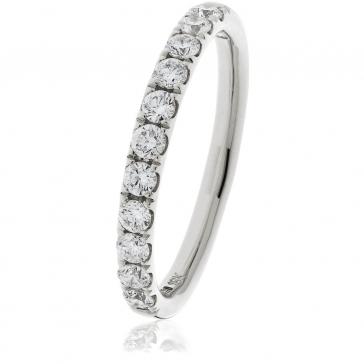 Diamond Half Eternity Ring 0.40ct, 18k White Gold