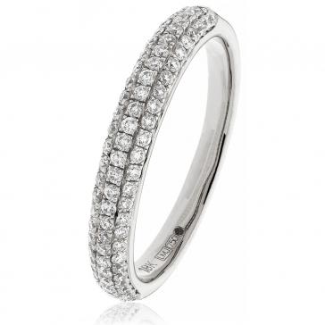 Diamond Pave Set Half Eternity Ring 0.55ct, 18k White Gold