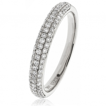 Diamond Pave Set Half Eternity Ring 0.55ct in Platinum